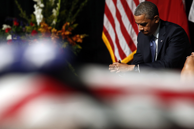 President Obama attends the memorial for firefighters killed at the fertilizer plant explosion in West, Texas, at Baylor University in Waco, Texas, on Thursday.