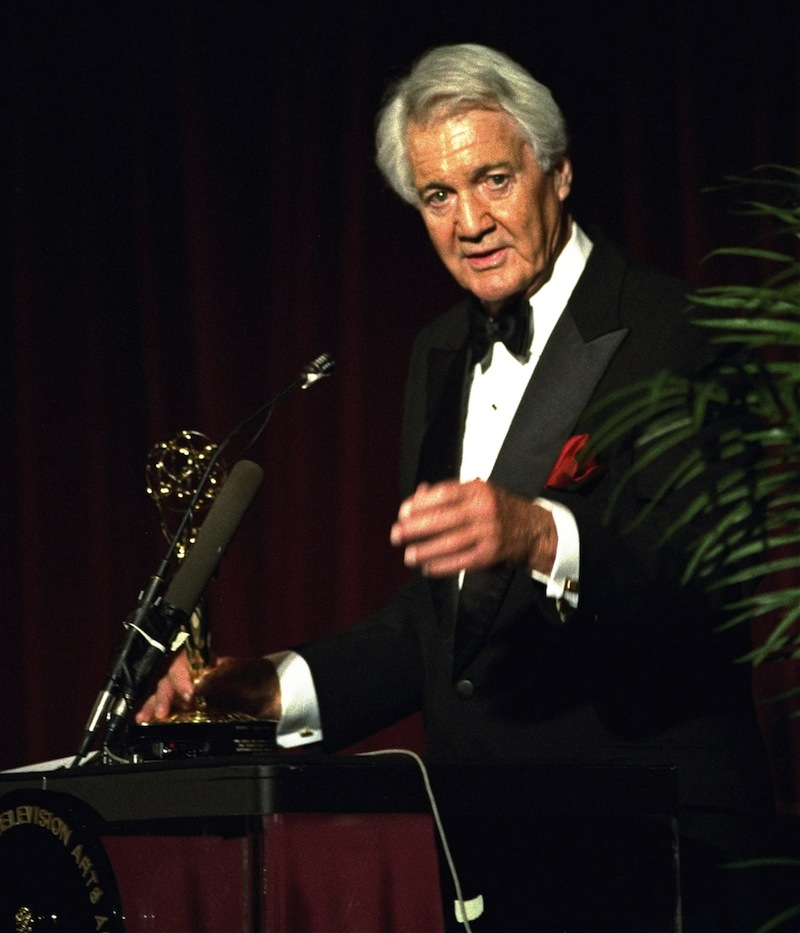 In this April 19, 1994, file photo, Pat Summerall, completing his 34th and final season with CBS, receives an award for lifetime achievement at the 1994 Sports Emmy Awards in New York. Fox Sports spokesman Dan Bell said Tuesday, April 16, 2013, that Summerall, the NFL player-turned-broadcaster whose deep, resonant voice called games for more than 40 years, has died at the age of 82. (AP Photo/Rob Clark, File)