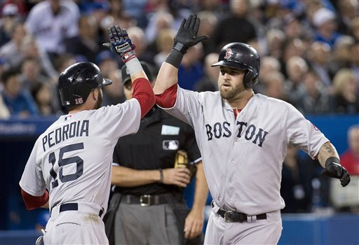 Boston Red Sox's Mike Napoli, right, celebrates his two-run home run with teammate Dustin Pedroia, left, while playing against the Toronto Blue Jays during fifth-inning baseball game action in Toronto, Friday, April 5, 2013. (AP Photo/The Canadian Press, Nathan Denette) 2013,AL,American,athlete,athletes,athletic,athletics,baseball,Blue Jays,Canada,Canadian,Center,Centre,competative,compete,competing,competition,competitions,event,game,Jays,League,Major,MLB,pro,professional,Rogers,sport,sporting,sports,Toronto