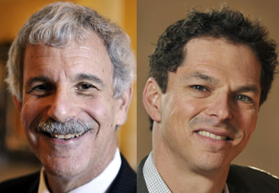 Sen. Roger Katz, R-Augusta, left, and Sen. Justin Alfond, D-Portland, have submitted bills to keep revenue sharing coming to cities and towns.