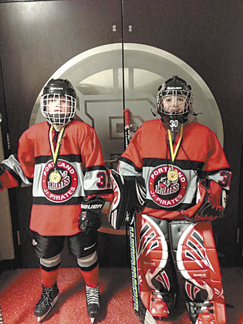 CHAMPS: Grady Friedman, left, and Drake Wheelden recently won the TD Garden Mini 1-on-1 tournament in Boston. The duo successfully navigated through six rounds to win the boys 10-and-under championship.