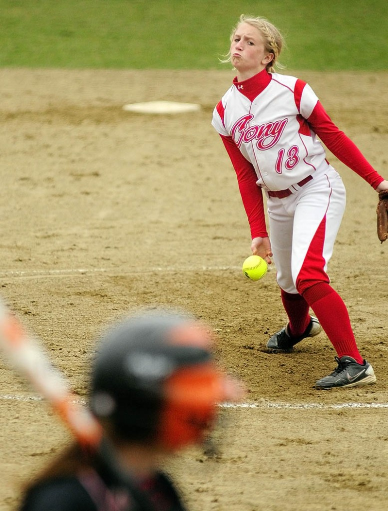 Cony pitcher Arika Brochu delivers a pitch during the Rams' 12-0 win over Brunswick on Wednesday at Cony Family Field in Augusta. Brochu pitched five perfect innings for Cony.