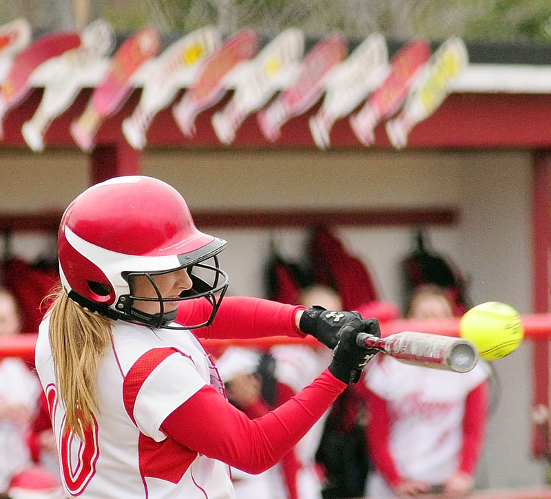 CONY HIGH SCHOOL'S Olivia Deeves hits the ball during the Rams' 12-0 win Wednesday at Cony Family Field in Augusta. Deeves had two doubles for the Rams.