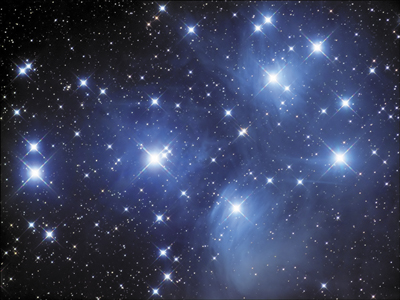 The Pleiades star cluster, also known as M45.