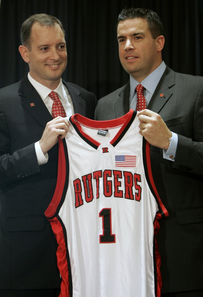 Rutgers coach Mike Rice, left, and athletic director Tim Pernetti in 2010