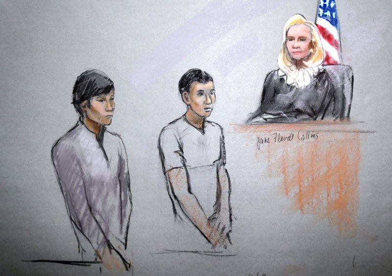 This courtroom sketch signed by artist Jane Flavell Collins shows defendants Dias Kadyrbayev, left, and Azamat Tazhayakov appearing in front of Federal Magistrate Marianne Bowler at the Moakley Federal Courthouse in Boston on Wednesday. The two college friends of Boston Marathon bombing suspect Dzhokhar Tsarnaev, and another man, were arrested and charged with removing a backpack containing hollowed-out fireworks from Tsarnaev's dorm room. (AP Photo/Jane Flavell Collins)