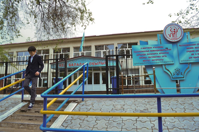 "A view of a school in Almaty, the largest Kazakhstan city on Friday, May 3, 2013. At the Kazakh school where Dias Kadyrbayev who was arrested in connection with the Boston Marathon bombings attended when he was 14 and 15, Deputy principal Yuri Dovgal said Friday: ""He wasn't a star student, but he wasn't a hooligan. He was a normal teenager."" (AP Photo/Abylay Saralayev)"