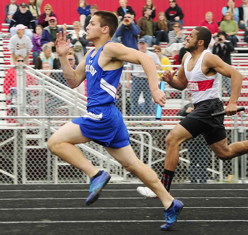 ON THE WAY TO VICTORY: Madison's Danny Moreshead runs the anchor leg of 4x100-meter relay during Mountain Valley Conference track and field championship meet Thursday at Cony High School's Alumni Field in Augusta. Madison won the race in a time of 46.53.