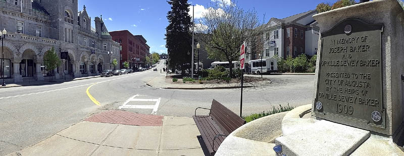 This photo taken on Friday shows Market Square in Augusta. The park and traffic island at the corner of Winthrop and Water Streets is a Kennebec Explorer bus stop.