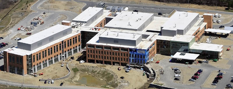 This aerial photo, taken in May, shows the new MaineGeneral regional hospital being built in Augusta.