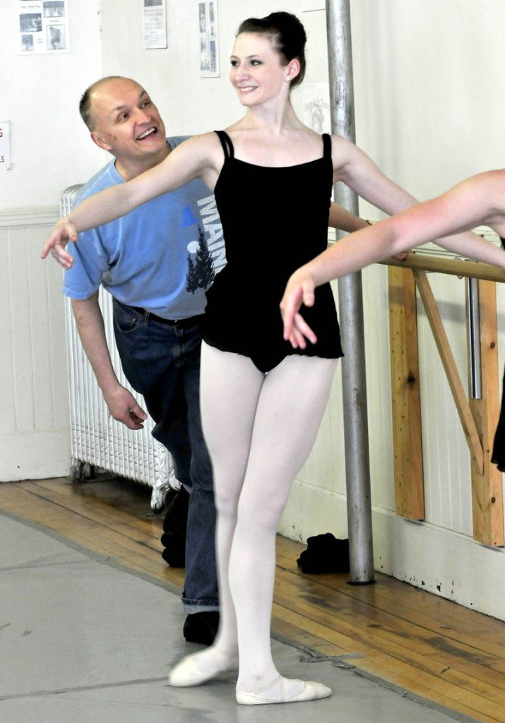Bossov Ballet Theatre Artistic Director Andrei Bossov shares a light moment with student Gabby Perkins during instruction at Maine Central Institute in Pittsfield.