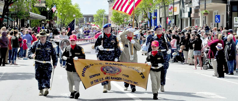 Members of the Dirigo U.S. Ranger Cadets joined veterans organizations, marching bands, fire departments and other groups during the well-attended Memorial Day parade through downtown Waterville on Monday.