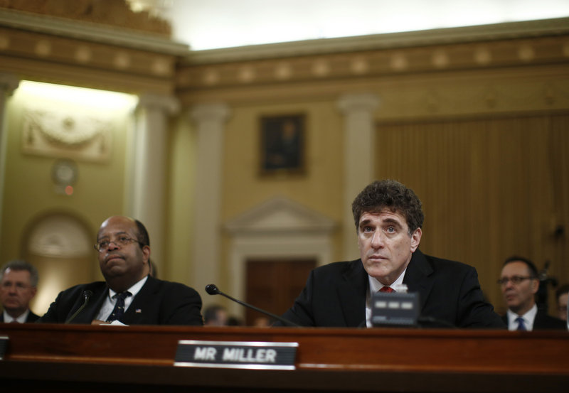 Former acting IRS Commissioner Steven Miller, right, and Treasury Inspector General for Tax Administration J. Russell George appear Friday before the House Ways and Means Committee.