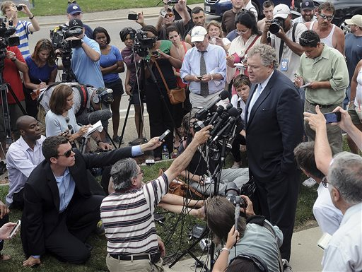Michael Fee, defense attorney for former New England Patriots tight end Aaron Hernandez, speaks to the media outside Attleboro District Court after Hernandez was arraigned Wednesday in Attleboro, Mass.
