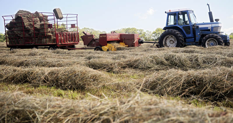 Andy Baker collects square bales of hay July 15 from a field in Monmouth during his first cut of the season. Baker said this time last year, he had put up 6,800 bales but this year, due to rain, he has only picked about 1,300 bales.