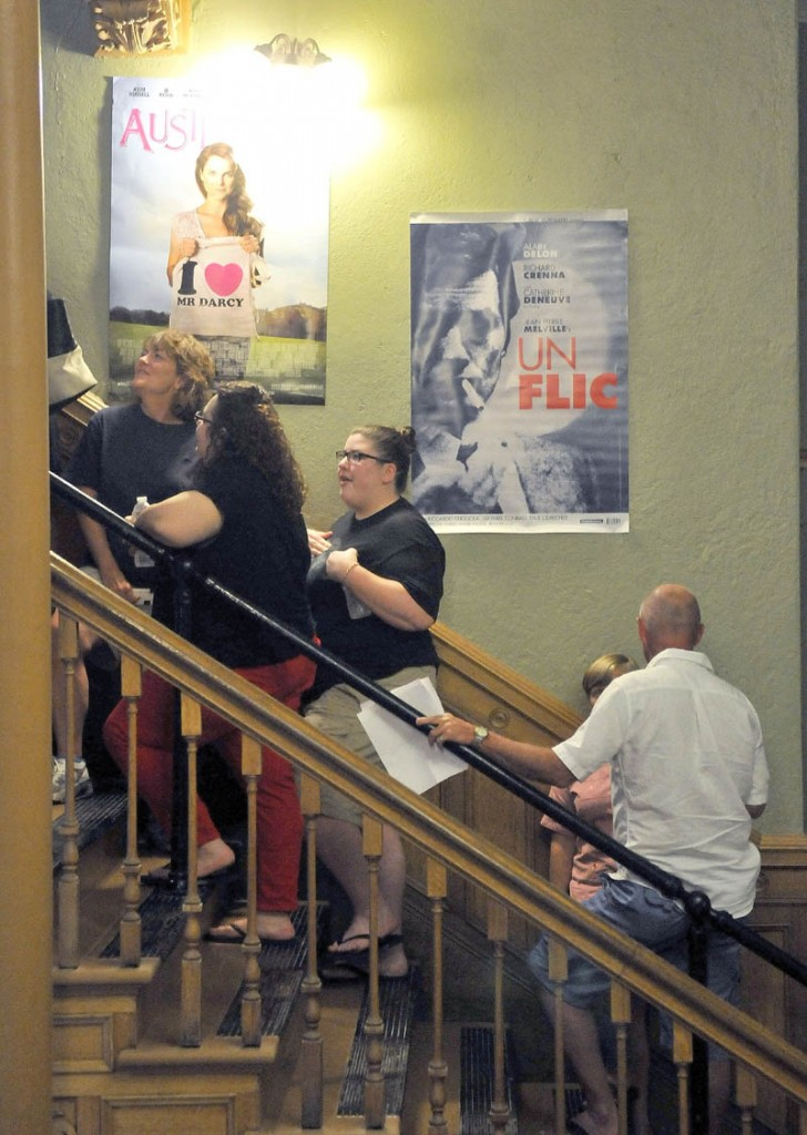 Movie-goers wait in line for tickets to the opening night of the Maine International Film Festival at the Waterville Opera House today.