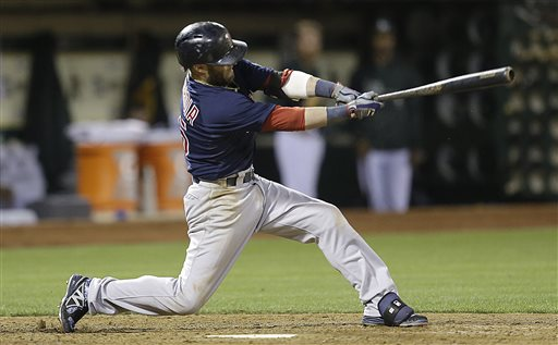 Boston Red Sox's Dustin Pedroia swings for a two run single off Oakland Athletics' Ryan Cook in the eighth inning of a baseball game Friday, July 12, 2013, in Oakland, Calif. (AP Photo/Ben Margot)