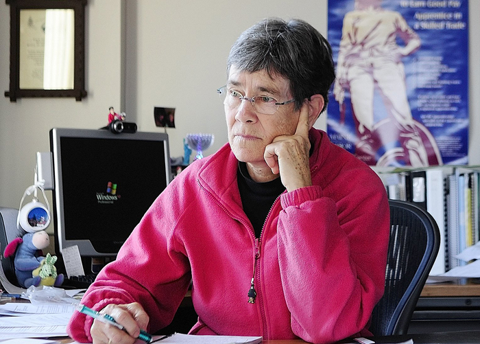 Dale McCormick, the former executive director of MaineHousing, listens to a conference call on March 20, 2012 in her former Augusta office. McCormick, who resigned during a feud with the LePage administration over allegations of financial improprieties, has taken out nomination papers for an at-large Augusta City Council seat.