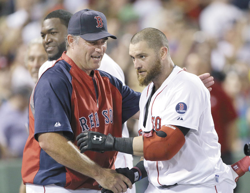 LET'S DO THIS: John Farrell, left, Jonny Gomes and the Boston Red Sox start a big homestand tonight against the New York Yankees. Boston also faces Tampa Bay and Baltimore on the homestand.