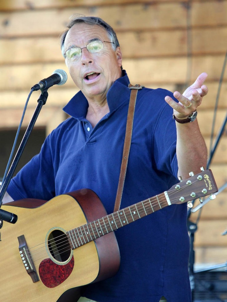 Maine humorist Tim Sample performs during the first of two sets on Wednesday at the 23rd Annual Winslow Family 4th of July Celebration.