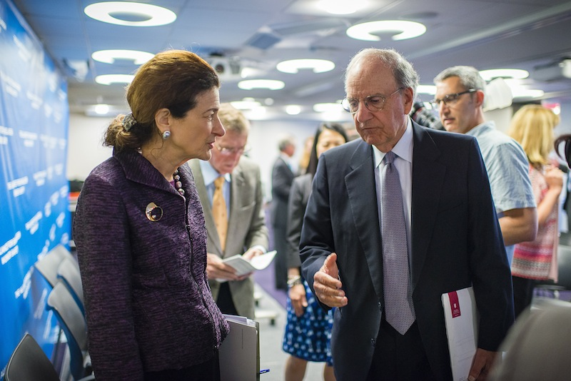 Former Maine Sens. Olympia Snowe and George Mitchell talk Wednesday following a press conference in Washington D.C. during which they unveiled a Bangladesh factory safety agreement among major North American clothing retailers who work with garment factories. Mitchell and Snowe facilitated the discussions with retailers as part of the Bipartisan Policy Center, an organization co-founded by Mitchell.