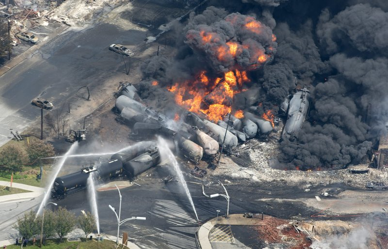 Smoke and flames rise from railway cars carrying crude oil after a train derailment in Lac-Megantic, Quebec, on Saturday. The accident led to several explosions and destroyed a huge swath of the town's urban center. Quebec Provincial Police said Saturday night that there was at least one confirmed death.