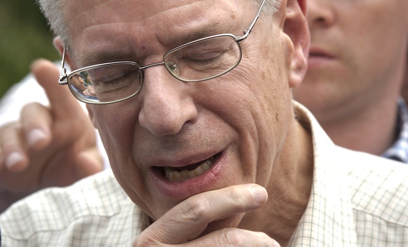 In this July 10, 2013 file photo, Rail World Inc. president Edward Burkhardt speaks to the media as he tours Lac-Megantic, Quebec. (AP Photo/The Canadian Press, Paul Chiasson) Canada