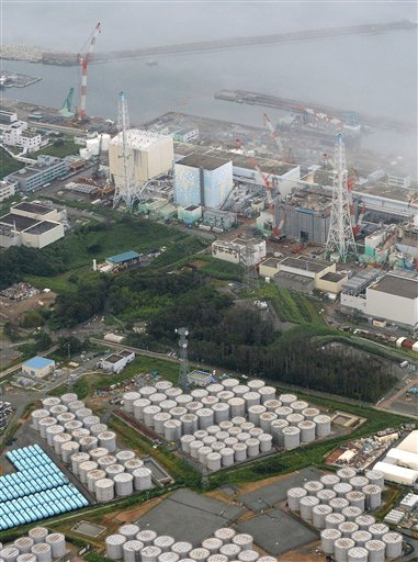 This aerial photo shows the Fukushima Dai-ichi nuclear plant at Okuma in Fukushima prefecture on Tuesday.