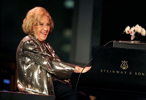 In this March 2008 photo, Marian McPartland plays piano during a celebration of her 90th birthday in New York.