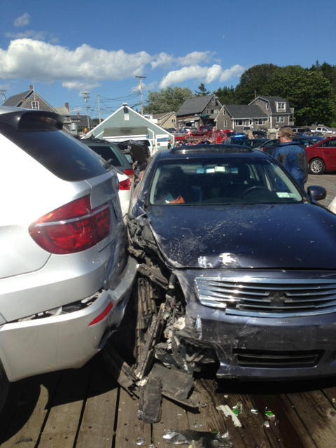 Cheryl Torgerson's 2007 blue Infiniti is shown on Aug. 11 in Port Clyde after the collision that killed a 9-year-old boy.