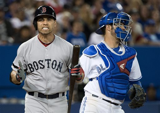 Boston Red Sox's Jacoby Ellsbury reacts after striking next to Toronto Blue Jays catcher J.P. Arencibia during the eighth inning of a baseball game in Toronto on Thursday, Aug. 15, 2013. (AP Photo/The Canadian Press, Nathan Denette) Blue Jays;athlete;athletes;athletic;athletics;Canada;Canadian;Center;Centre;competative;compete;competing;competition;competitions;event;game;Jays;League;Major;MLB;pro;professional;Rogers;sport;sporting;sports;Toronto;baseball;American;AL;2013