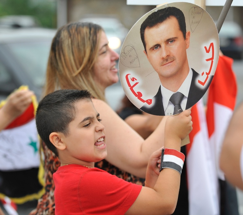 Members of the Syrian community in Allentown, Pa. rally for the second day in a row Wednesday against the United States' involvement in Syria.