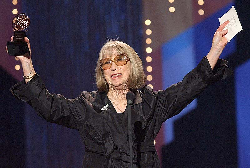 Julie Harris celebrates her special Tony Award for Lifetime Achievement in the Theatre during the 56th annual Tony Awards at New York's Radio City Music Hall in June 2002 Harris, who won an unprecedented five Tony Awards for best actress, died Saturday. She was 87.