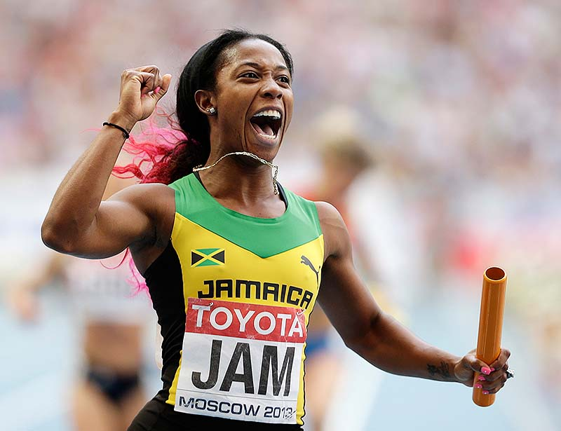 Jamaica's Shelly-Ann Fraser-Pryce reacts after winning the women's 4x100-meter relay final at the world championships on Sunday in Moscow.