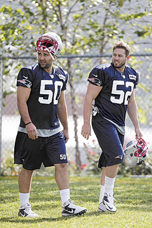 BACK AT IT: New England Patriots linebacker Dane Fletcher (52) spent all last season on injured reserve. Now he's healthy and having a strong training camp.