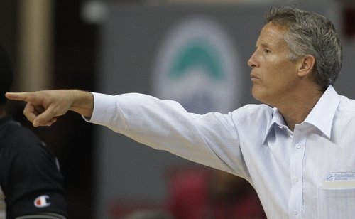 Brett Brown, then the head basketball coach for Australia, gestures during the World Basketball Championship in 2010. Brown, 52, will become the 76ers eighth coach since Larry Brown stepped down after the 2002-03 season.