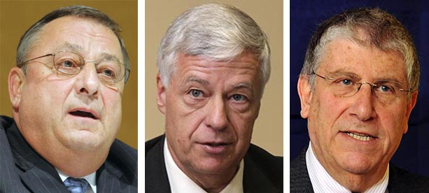 Republican Gov. Paul LePage, left, Democratic U.S. Rep. Mike Michaud and independent Eliot Cutler