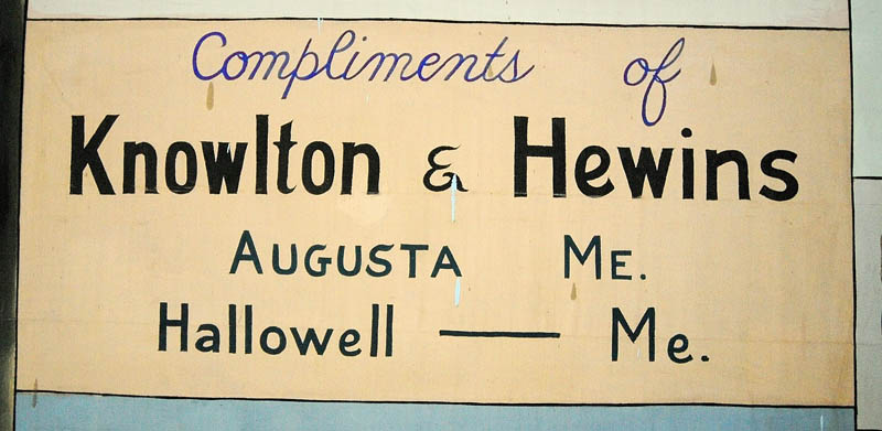 Knowlton & Hewins is one of the few advertisers still in business on the 1939 curtain, seen during a tour ontoday of the Chelsea Grange Hall on Route 226 in Chelsea.