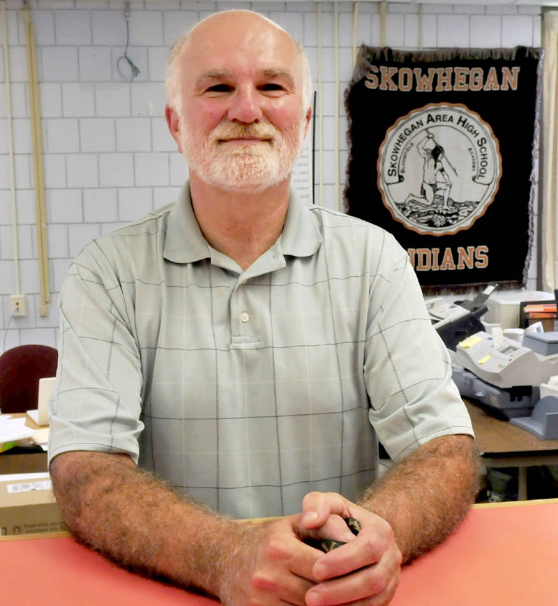 Skowhegan Area High School Prinicipal Rick Wilson at the front office recently.