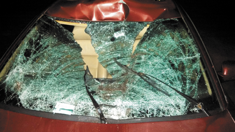The windshield of a vehicle damaged in a recent moose collision in Franklin County is pictured.
