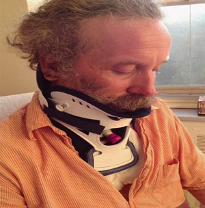 Matthew Dyer is shown in the Montreal hospital where he spent three weeks undergoing treatment after the July 24 polar bear attack in Torngat Mountains National Park in northern Labrador.