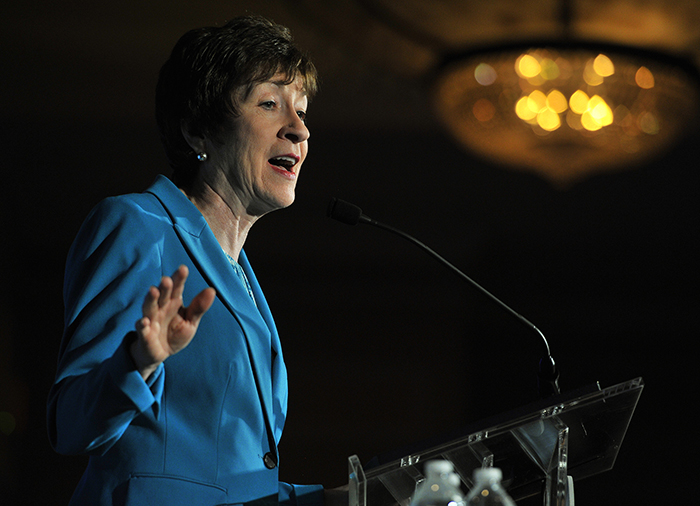 Sen. Susan Collins speaks at the Portland Regional Chamber's Eggs and Issues breakfast at the Marriott Hotel in South Portland on Thursday. She discussed bills she co-sponsored with Democrats and called for more bipartisan work to solve problems.