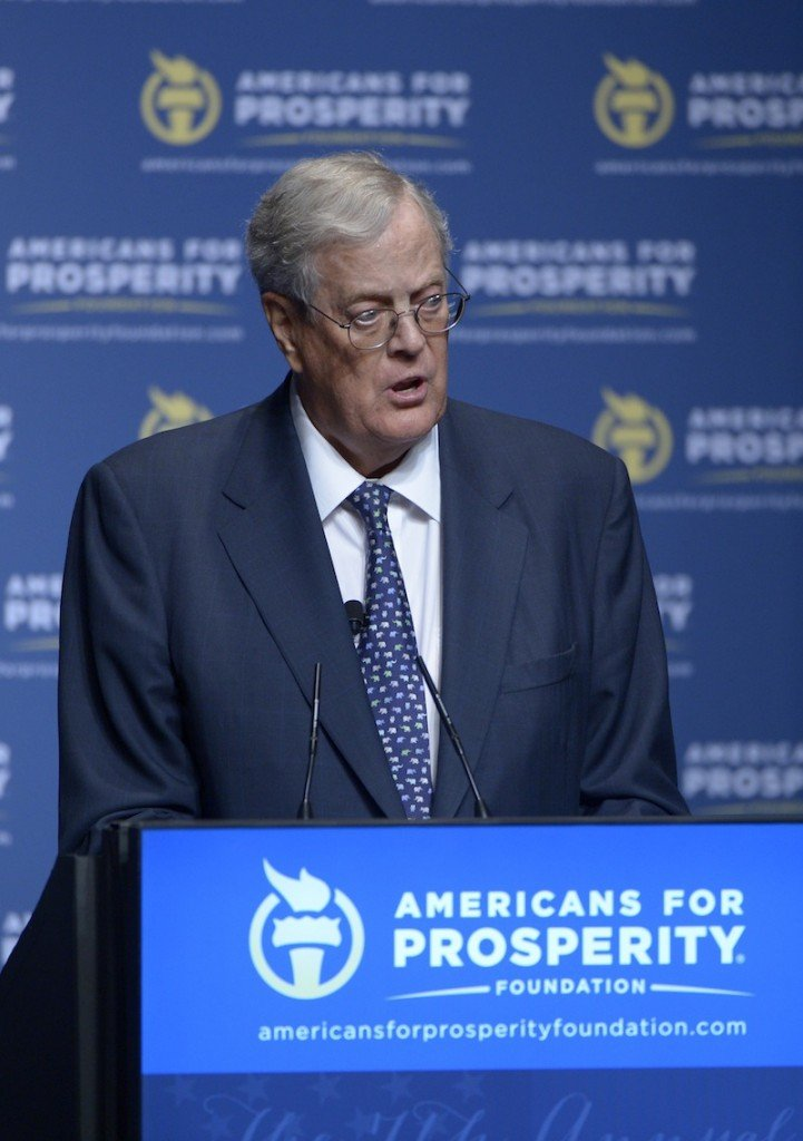 In this August 2013 photo, Americans for Prosperity Foundation Chairman David Koch. Brothers Charles and David Koch, co-owners of Koch Industries Inc., are tied for the fourth richest men in America with $36 billion each, up from $31 billion in 2012. (AP Photo/Phelan M. Ebenhack)