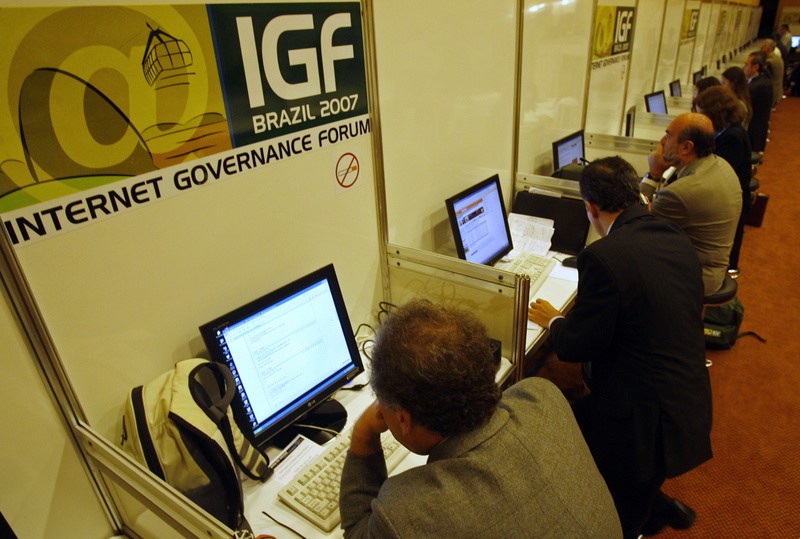 People search the Internet during the Internet Governance Forum in Rio de Janeiro, Brazil. President Dilma Rousseff has ordered a series of measures aimed at greater Brazilian online independence and security.