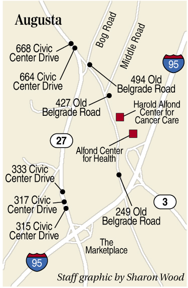 This map shows the locations of eight homes in the vicinity of the Alfond Center for Care that are being sold as commercial properties.