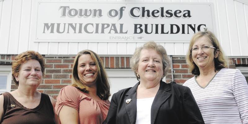 Former Chelsea's selectwomen Sharon Morgang, left, Tanya Condon, second from left, and Carole Swan, right, with former town manager Kay Khalvati.