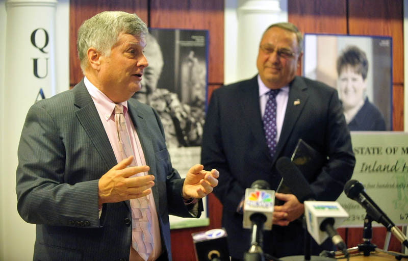 John Dalton, president and CEO of Inland Hospital, introduces Gov. Paul LePage during a press conference at Inland Hospital in Waterville on Wednesday. Gov. LePage made the appearance to announce repayment of state Maine Care debt to Maine's 39 hospitals including $9.5 million to Inland Hospital.