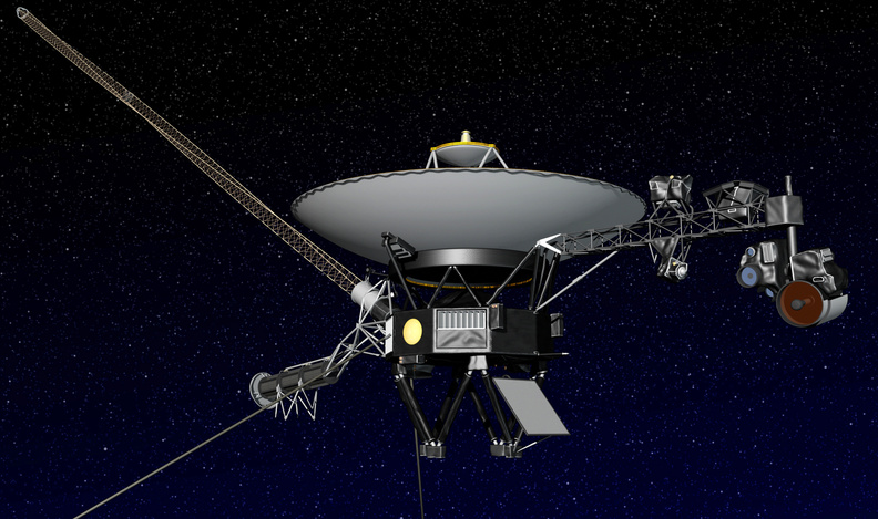 This artist rendering released shows NASA's Voyager 1 spacecraft in space.