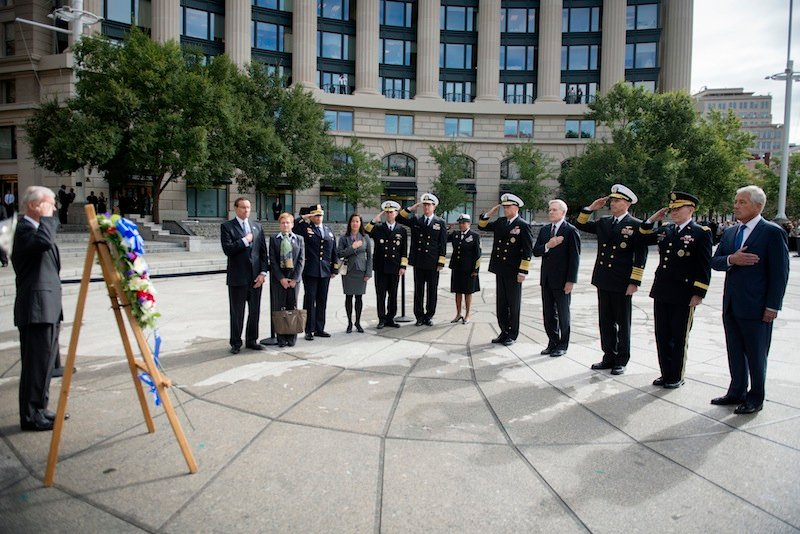 This photo provided by the Navy Media Content Service shows Secretary of Defense, Chuck Hagel, right, Gen. Martin E. Dempsey, Chairman of the Joint Chiefs of Staff, Adm. Jonathan Greenert, Chief of Naval Operations, Ray Mabus, Secretary of the Navy, and Adm. James A. Winnefeld Jr., Vice Chairman of the Joint Chiefs of Staff, render honors on Tuesday, Sept. 17, 2013, during a wreath laying ceremony at the U.S. Navy Memorial. (AP Photo/ U.S. Navy Media Content Service, Arif Patani) SECNAV;Ray Mabus;Secretary of the Navy;Dakota Meyer;Medal of Honor;Marine;U.S. Marine Corps