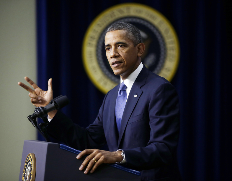President Barack Obama speaks about the economy at the White House on Monday in Washington. He reiterated his refusal to negotiate with Republicans over the debt ceiling.
